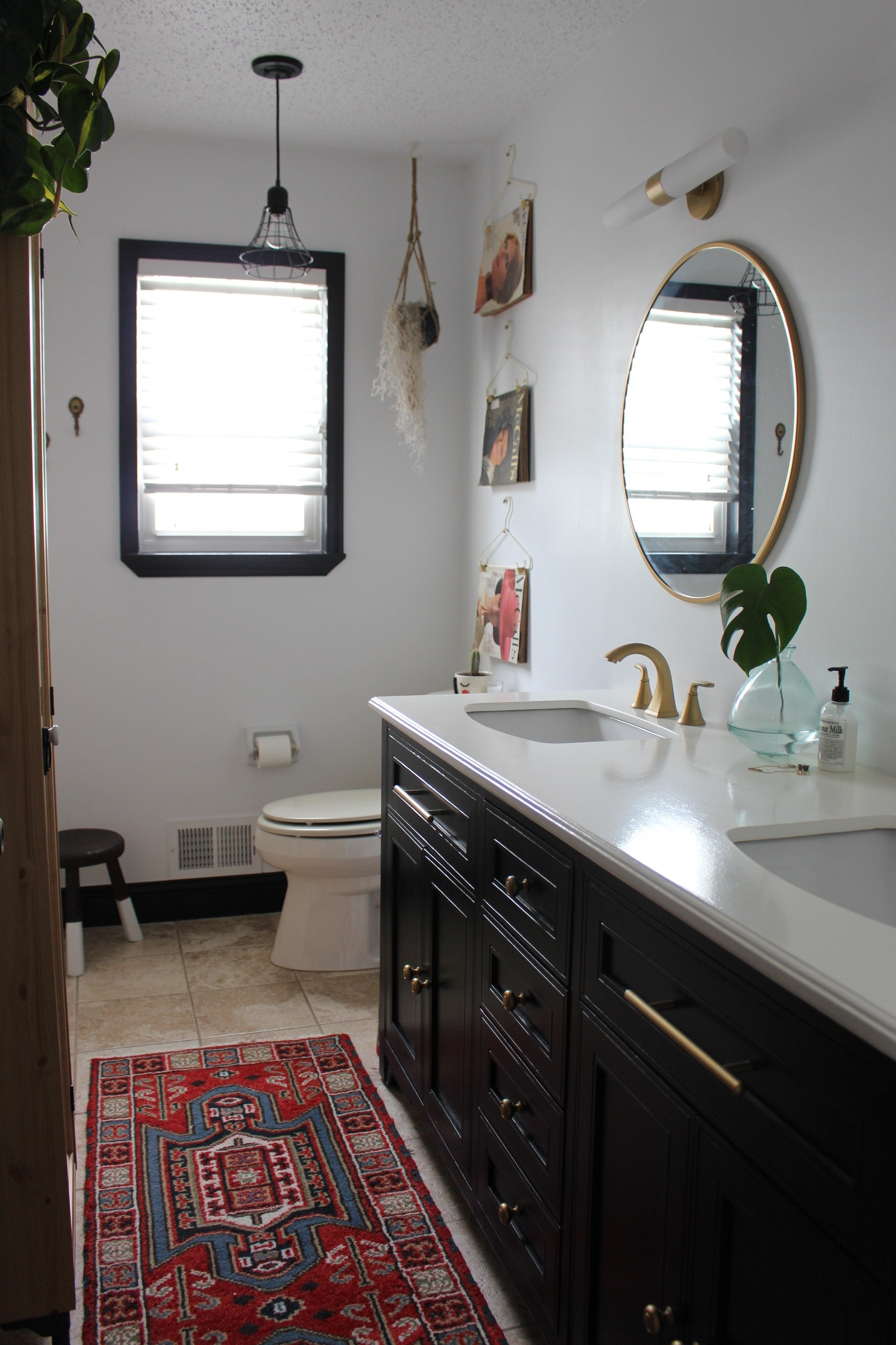 Bathroom DIY with Black trim