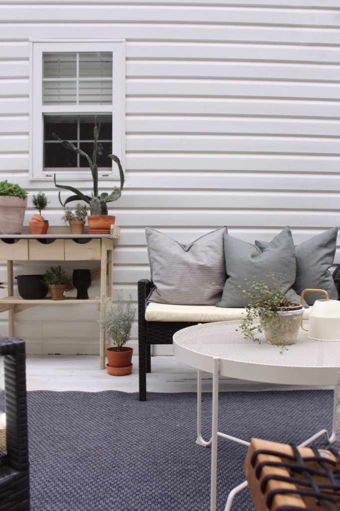 IKEA coffee table and pillows