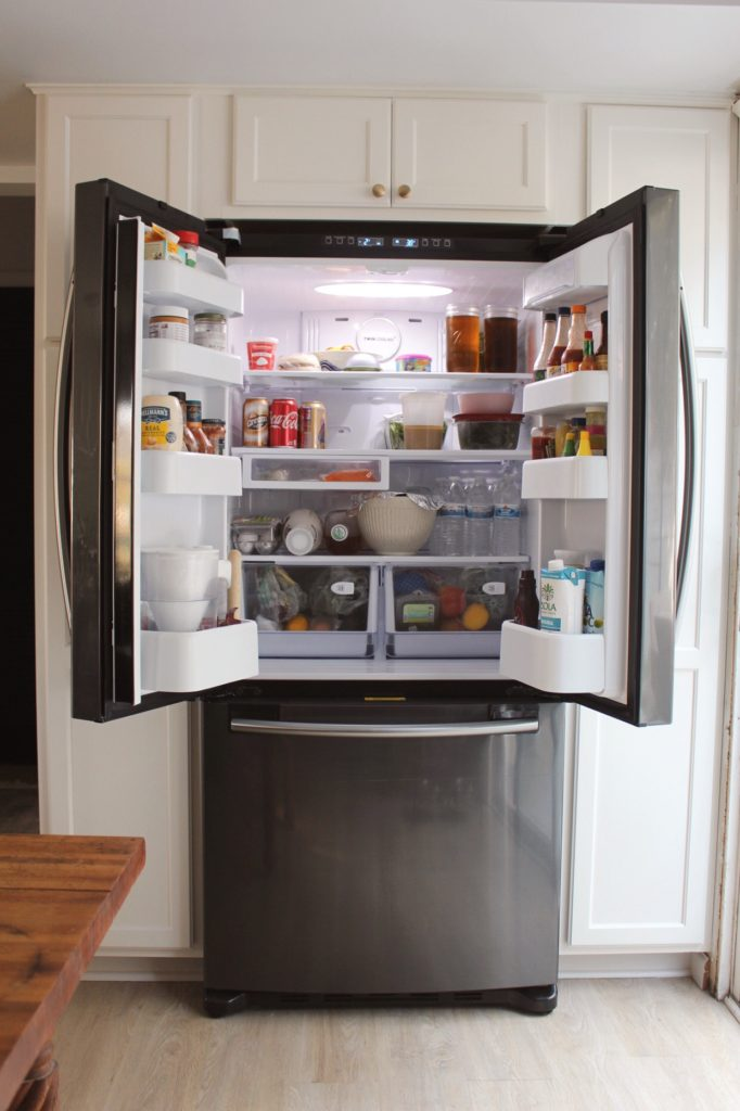 Samsung black stainless steel fridge interior